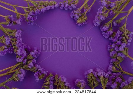 Violet flowers scattered against an ultra violet background (flat lay, copy space in the center), concept of the Ultra Violet as the Color of the Year 2018