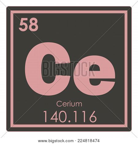 Cerium chemical element periodic table science symbol
