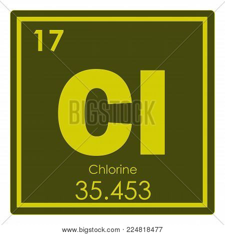 Chlorine chemical element periodic table science symbol