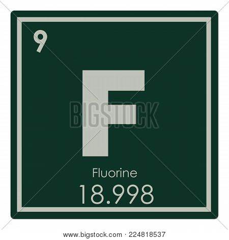 Fluorine chemical element periodic table science symbol