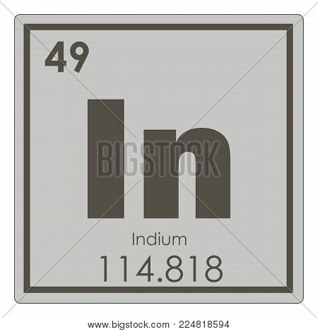 Indium chemical element periodic table science symbol