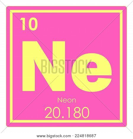 Neon chemical element periodic table science symbol