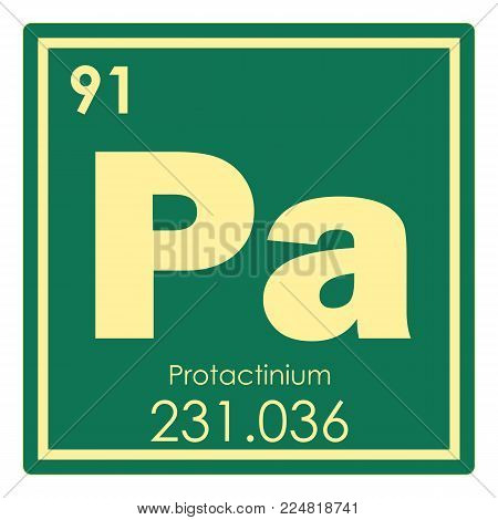 Protactinium chemical element periodic table science symbol