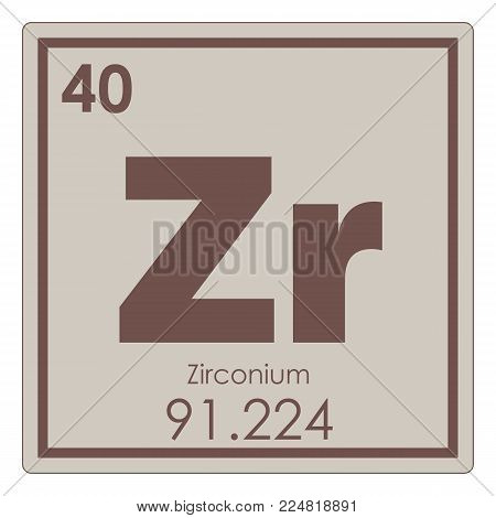 Zirconium chemical element periodic table science symbol