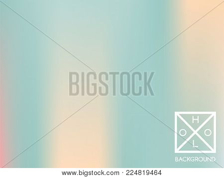 Holographic backdrop. Holo iridescent cover. Gradient soft pastel colors backdrop. Minimal creative vector gradient.  Pastel holographic foil.  Creative neon template for banner. Vibrant print.