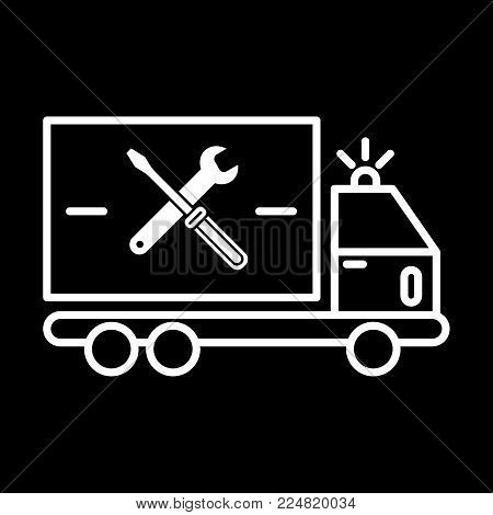 repair sign of auto service with truck and spanner silhouette. Vector icon. Flat contour icon isolated on black. Eps 10.