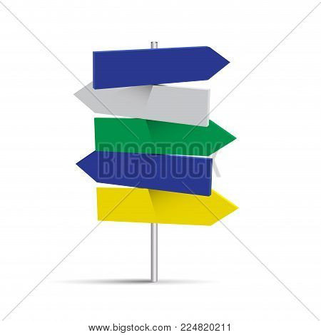 Vector five road signs, travel destinations on white background