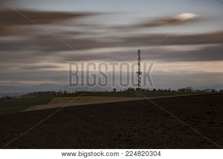 Kanihura Observation Tower With Beskydy Mountains On The Background,  Bilov, Czech Republic