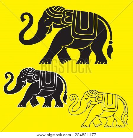 Ethnic illustrations of elephant: black fill, black with white outlines, black outlines only. T-shirt print.