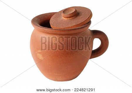 Terracotta clay pot with opened cap on white bacground, isolated