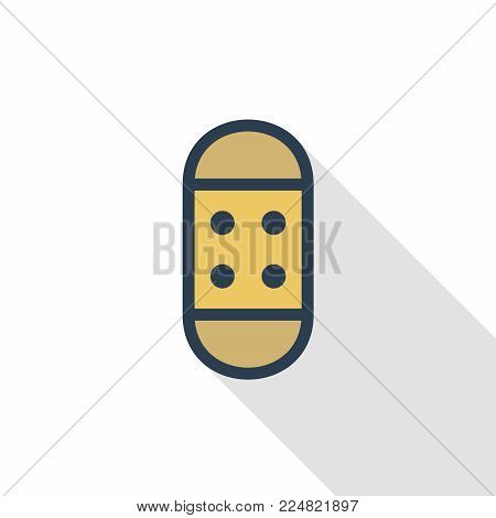Medical adhesive bandage thin line flat color icon. Linear vector illustration. Pictogram isolated on white background. Colorful long shadow design.