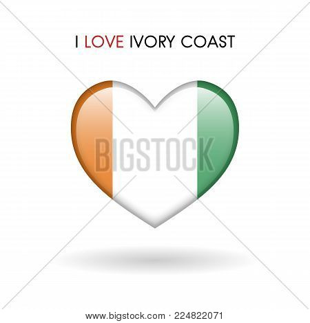 Love Ivory Coast symbol. Flag Heart Glossy icon on a white background isolated vector illustration eps10
