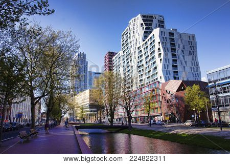 APRIL 2015, ROTTERDAM NETHERLANDS: Modern buildings of Rotterdam, interesting and unique architecture