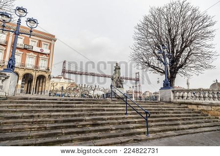 Portugalete,spain-january 12,2017:city View, Square, Historic Center, Plaza Del Solar, At Background