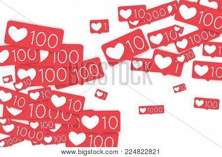 Social media counters. Like background. Social network icons. SMM, digital marketing, advertising, app, seo, web background with falling like counters isolated on white backdrop. Web addiction.