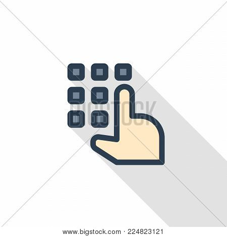 Pin code keypad, access security lock, hand pushing thin line flat icon. Linear vector illustration. Pictogram isolated on white background. Colorful long shadow design.