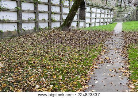 SANTIAGO DE COMPOSTELA,SPAIN-NOVEMBER 22,2017:Ancient cemetery, park, Parque de San Domingos de Bonaval.Santiago de Compostela, Galicia, Spain.