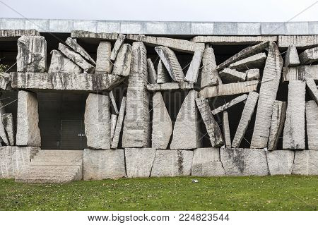 SANTIAGO DE COMPOSTELA,SPAIN-NOVEMBER 22,2017:Architecture, contemporary style, Headquarters SGAE / Foundation Autor, by Anton Garcia Abril, Park Vista Alegre-Finca Simeon,Santiago de Compostela.