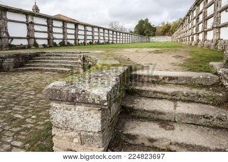 SANTIAGO DE COMPOSTELA,SPAIN-NOVEMBER 23,2017:Ancient cemetery, park, Parque de San Domingos de Bonaval.Santiago de Compostela, Galicia, Spain.