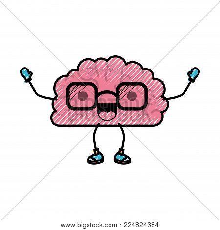 brain character expression mind intelligence neurology fun cartoon caricature comic graphic vector illustration