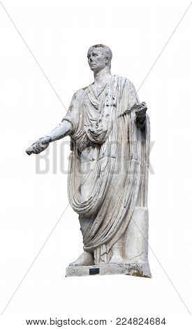 antique white marble statue of Roman patrician in toga with sumdam in hand on street of Rome in Italy isolated on white background