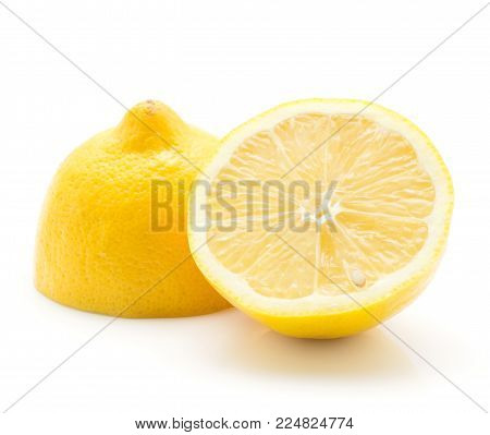 One lemon cut in half isolated on white background two sliced halves