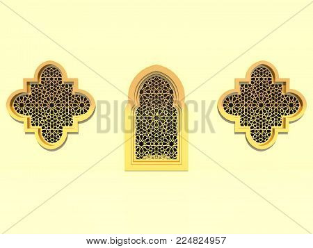 3d Rendering. Islamic Interior Design Of The Mosque. Islamic Window With Traditional Pattern. Backgr