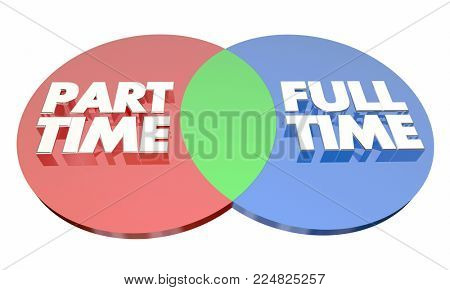 Part Time Vs Full Time Work Employment Venn Diagram 3d Illustration