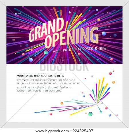 Grand opening vector illustration, invitation card for new store. Template banner, design element for opening event, red ribbon cutting ceremony