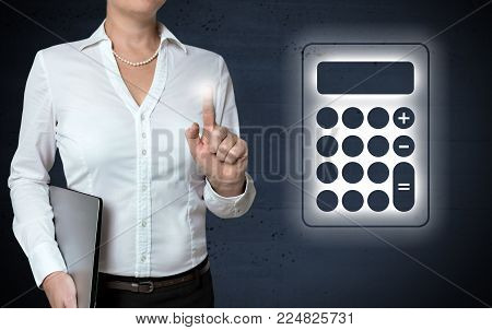 Calculator touchscreen is shown by businesswoman picture