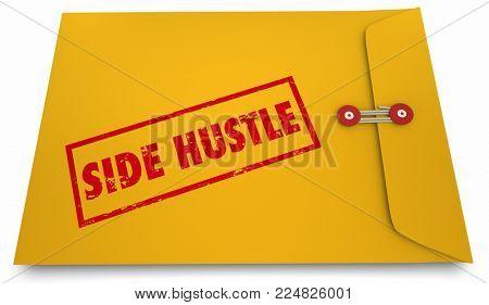 Side Hustle Envelope Instructions Earn Second Income 3d Illustration