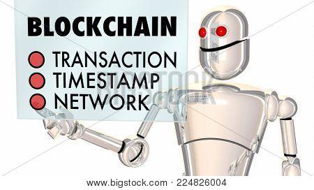Blockchain Robot Transaction Tracking Network 3d Illustration