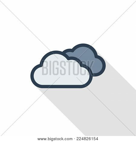 cloudy weather thin line flat color icon. Linear vector illustration. Pictogram isolated on white background. Colorful long shadow design.