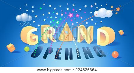 Grand opening vector illustration. Template banner with graphic background and nonstandard modern style sign for opening event