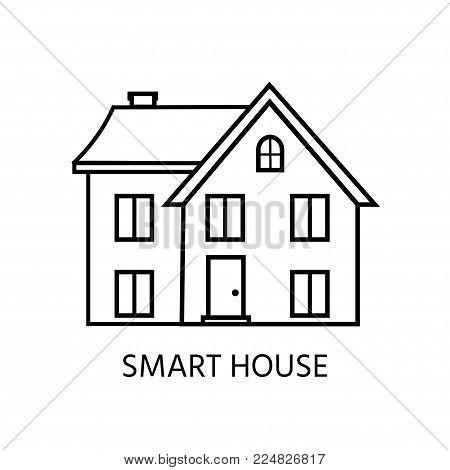 Modern line icon with cozy home, house, cottage. Smart building.  Flat design urban landscape.
