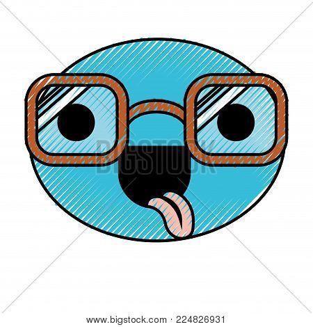 caricature face glasses expression fun comic cute vector illustration
