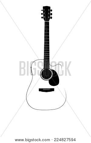 Acoustic guitar on a white background. Beautiful wooden guitar. Neck of an acoustic guitar
