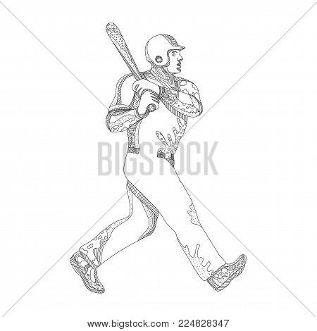 Doodle art illustration of a baseball player batting with bat viewed from side on isolated background done in black and white.