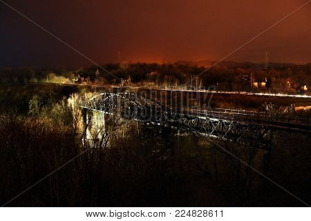 Nighty Landscape With Abandoned Historic Railway Viaduct Across Ohre River Near Kadan City