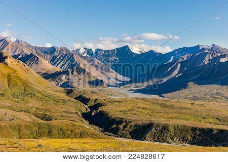 the scenic landscape of Denali National Park Alaska in fall