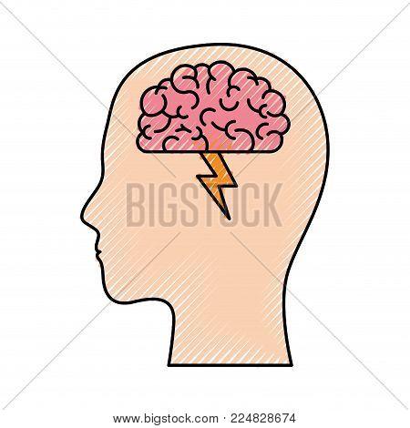 human head face brain science mind intelligence vector illustration