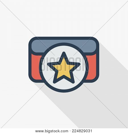 boxing belt award, star medal thin line flat color icon. Linear vector illustration. Pictogram isolated on white background. Colorful long shadow design.