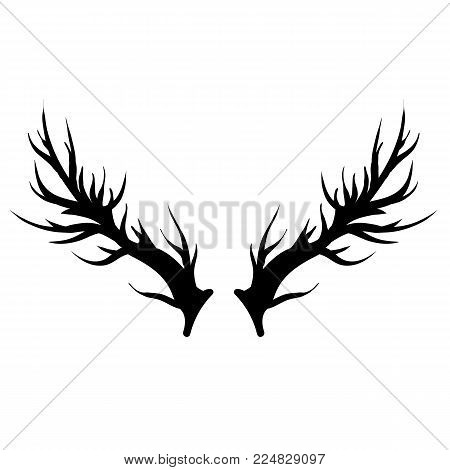 Deer Horns Silhouette Isolated on White Background