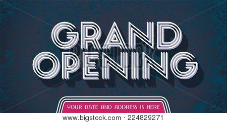 Grand opening vector design element. Advertising banner with retro style sign for opening ceremony
