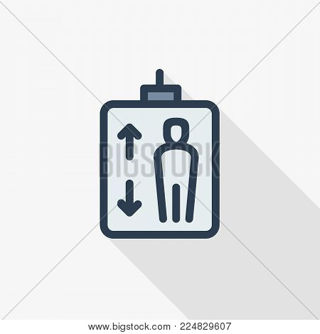 Elevator. Person symbol with up and down arrows thin line flat color icon. Linear vector illustration. Pictogram isolated on white background. Colorful long shadow design.