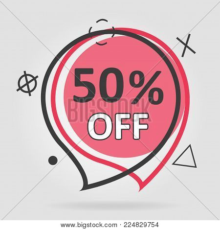 Special offer sale geometric tag red. Discount offer price label, symbol for advertising campaign in retail, sale promo marketing, ad offer on shopping day