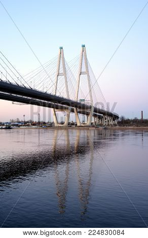 Cable-stayed bridge at evening in St.Petersburg, Russia.