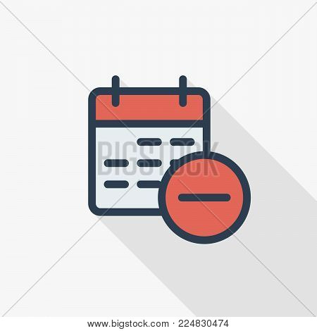 date and time, calendar and delete event thin line flat color icon. Linear vector illustration. Pictogram isolated on white background. Colorful long shadow design.