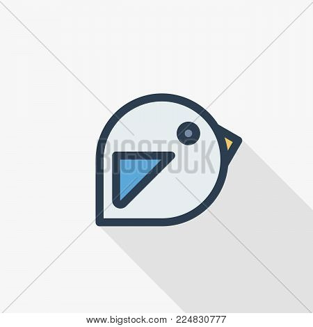 bird, message symbol, tweet thin line flat color icon. Linear vector illustration. Pictogram isolated on white background. Colorful long shadow design.