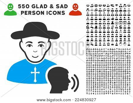 Cheerful Believer Confession vector icon with 550 bonus pitiful and glad person images. Person face has glad emotions. Bonus style is flat black iconic symbols.